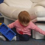 Erica playing with the big blocks on 7 October 2012.