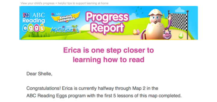 ABC Reading Eggs Progress Report